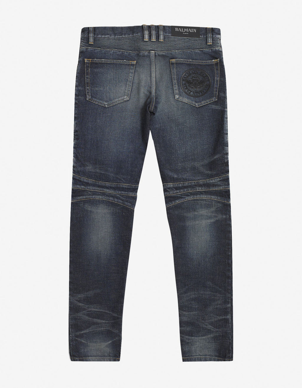 Wash Blue Medallion Biker Jeans -
