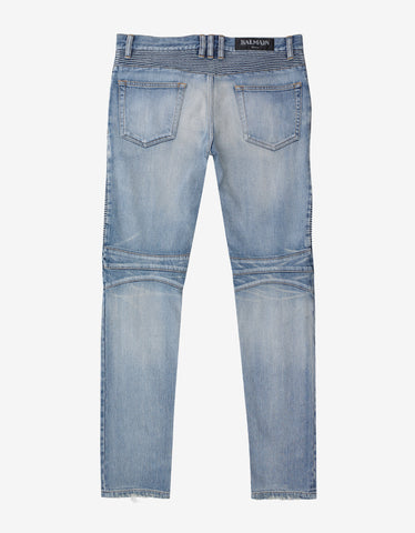 Balmain Stonewash Repaired Blow Out Knee Biker Jeans
