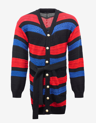 Balmain Red, Blue & Black Belted Cardigan