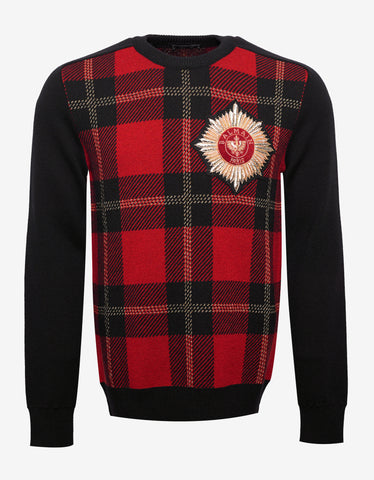 Balmain Tartan Print Sweater with Badge