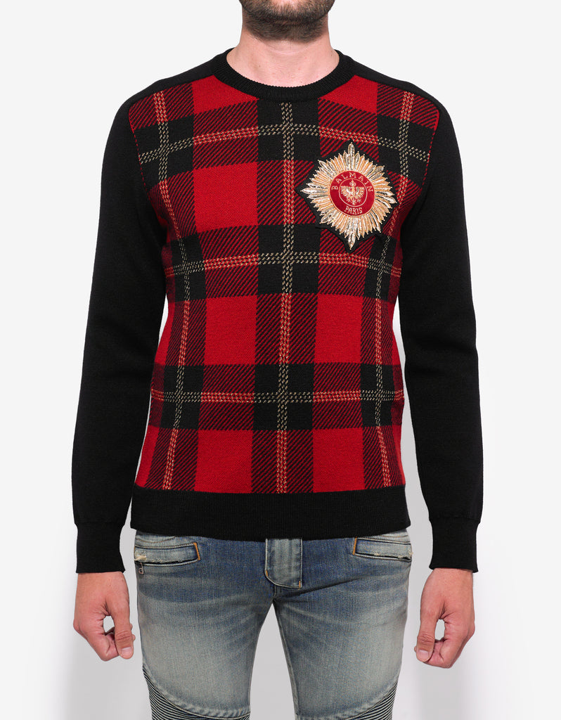 Tartan Print Sweater with Badge