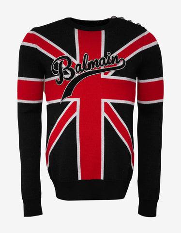 Balmain Union Jack Wool Logo Sweater