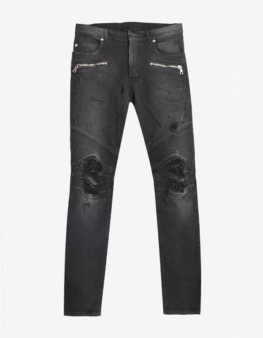 Balmain Wash Black Distressed Biker Jeans