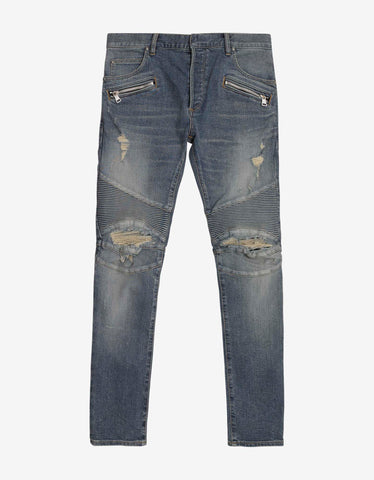 Silver Lamination Ribbed Panel Slim Biker Jeans