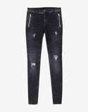 Washed Black Skinny Distressed Biker Jeans