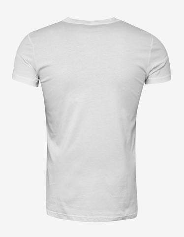 Balmain White Flocked Logo Print T-Shirt