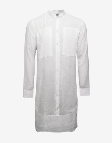Balmain White Long Shirt with Mandarin Collar