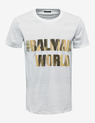 Balmain White 'Balmain World' Print T-Shirt