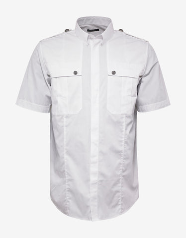 Balmain White Short Sleeve Shirt