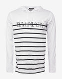 White Striped Long Sleeve Logo T-Shirt