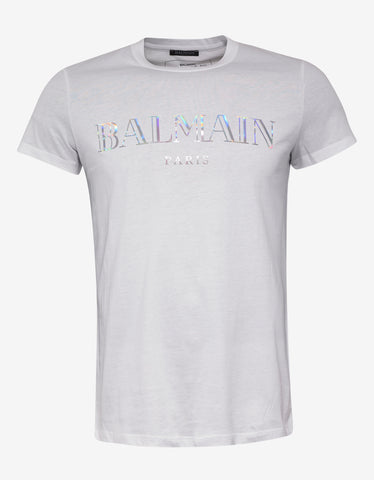 Balmain White T-Shirt with Holographic Balmain Logo