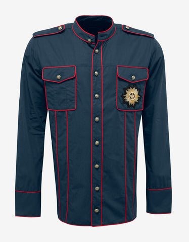 Balmain Blue Military Shirt with Badge