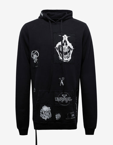 Ben Taverniti Unravel Project Distressed Terry Patch Black Hoodie
