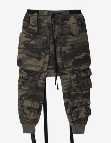 Ben Taverniti Unravel Project Camo Parachute Drop Crotch Cargo Pants