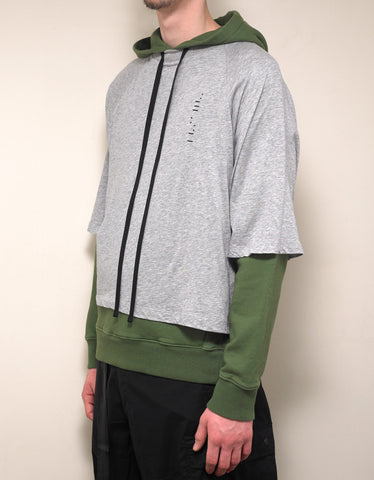 Ben Taverniti Unravel Project Grey & Green Dual Layer Hoodie