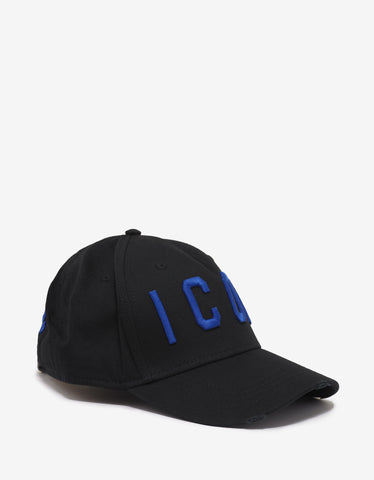 Dsquared2 Black Baseball Cap with Blue Icon Logo