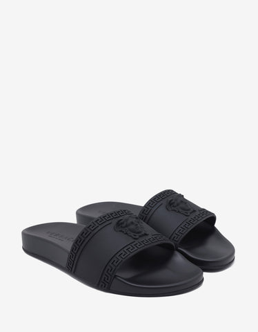 Versace Black Medusa Embossed Slide Sandals