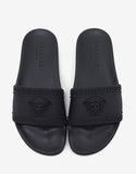 Black Medusa Embossed Slide Sandals