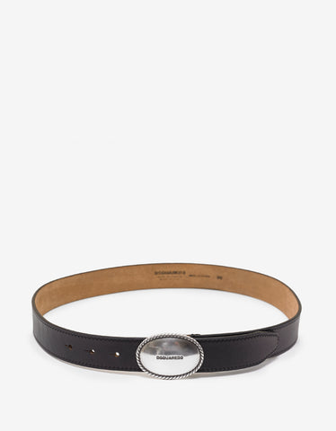 Dsquared2 Black Oval Logo Buckle Belt