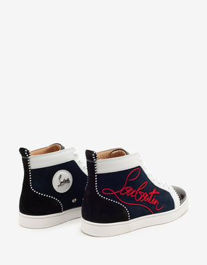 Navy Louis Panelled High Top Trainers