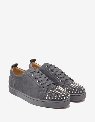 Christian Louboutin Louis Junior Spikes Flat Shadow Grey Suede Trainers