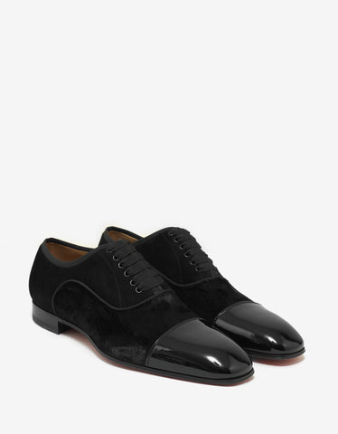 Christian Louboutin Greggo Orlato Flat Leather & Velvet Oxford Shoes