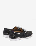 Steckel Flat Jumbo Calf Black Spikes Boat Shoes
