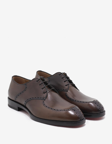 Christian Louboutin A Mon Homme Flat Havane Brown Derby Shoes