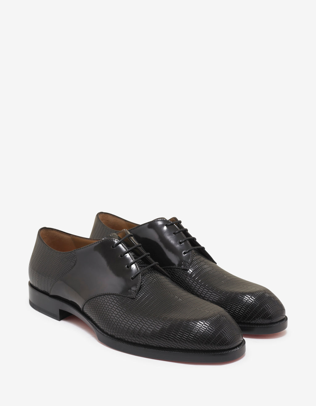 A Mon Homme Flat Iguana Embossed Derby Shoes
