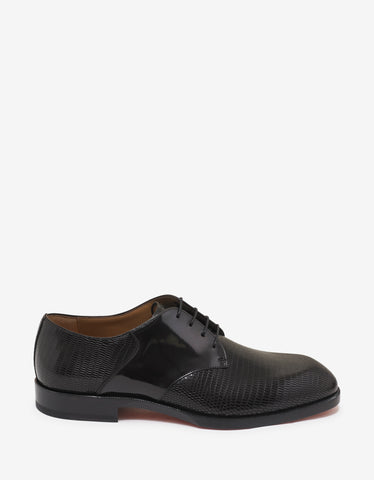 Christian Louboutin A Mon Homme Flat Iguana Embossed Derby Shoes