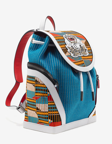 Christian Louboutin Afrofunk Explorafunk Egyptian Blue & White Backpack