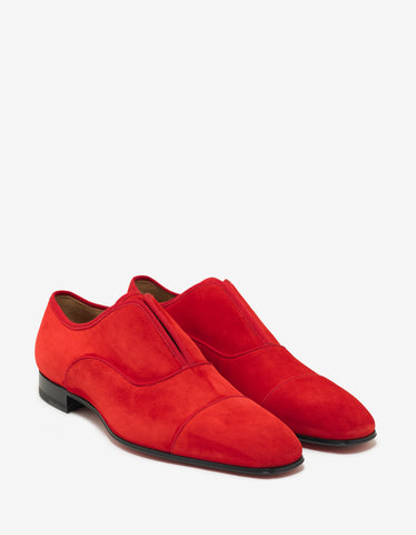 Christian Louboutin Alpha Male Flat Loubi Red Suede Leather Loafers