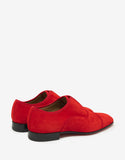Alpha Male Flat Loubi Red Suede Leather Loafers