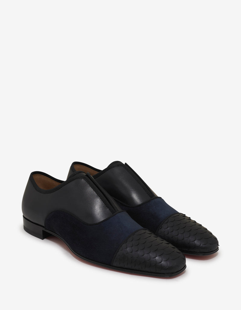 Alpha Male Flat Python & Suede Loafers