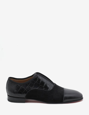 Christian Louboutin Alpha Male Flat Suede & Croc Embossed Loafers