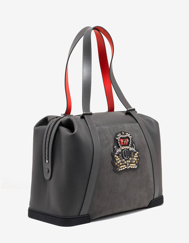 Christian Louboutin Bagdamon Charbon Grey Calf & Nubuck Leather Holdall