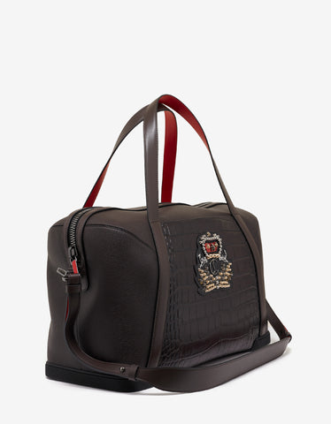 Christian Louboutin Bagdamon Duffle Ebony Grain & Croc Leather Holdall