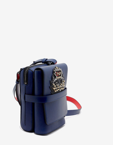 Christian Louboutin Benech Reporter Encre Blue Bag with Crest