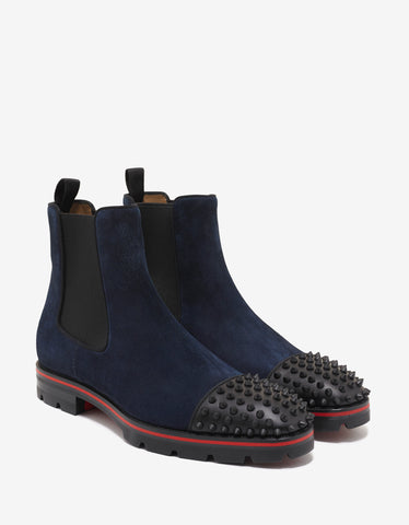 Christian Louboutin Melon Spikes Flat Blue Suede Chelsea Boots
