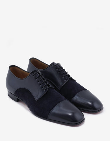 Christian Louboutin Top Daviol Navy Calf Leather and Suede Derby Shoes