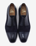 Top Daviol Navy Calf Leather and Suede Derby Shoes