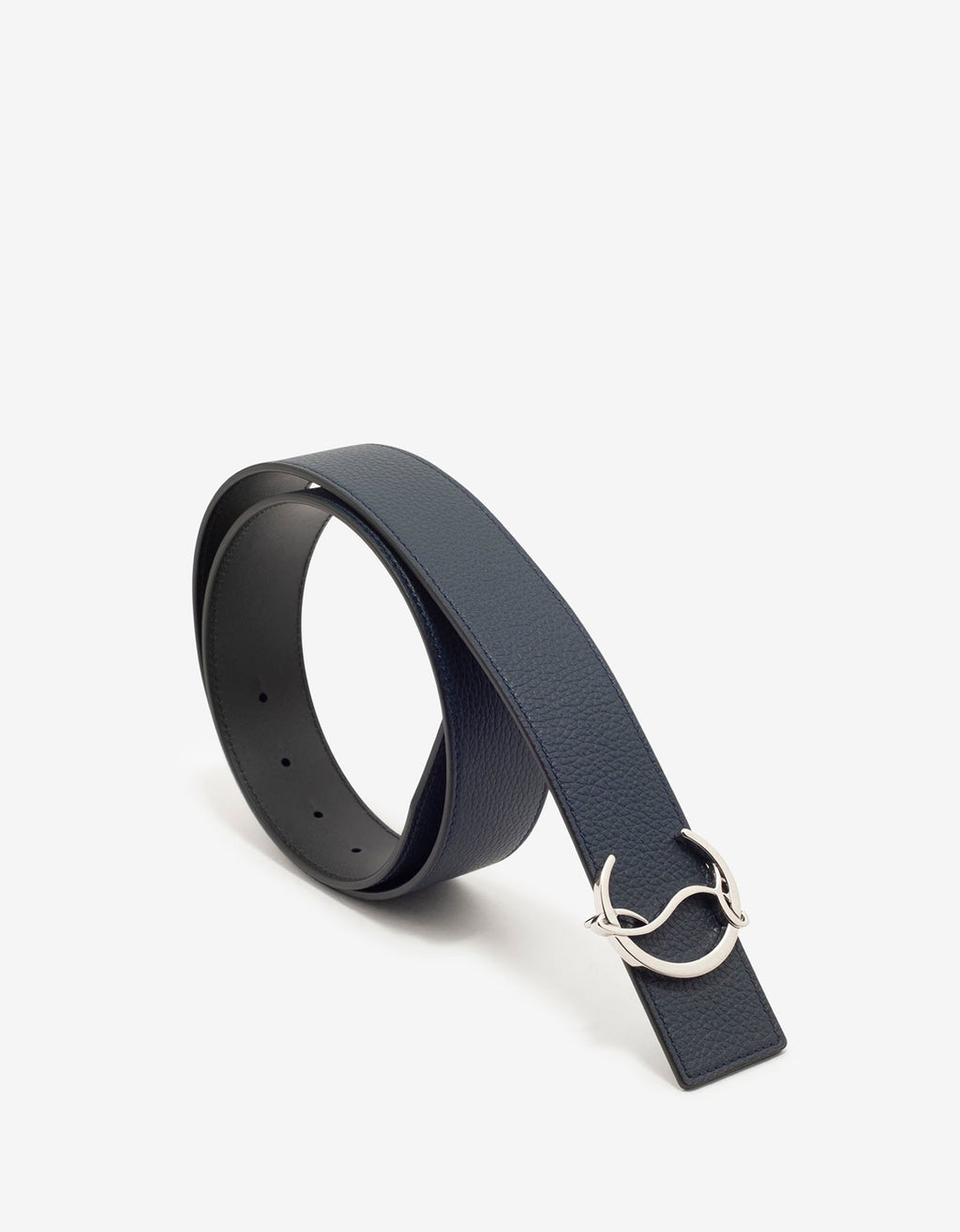 CL Logo Navy Blue Leather Belt