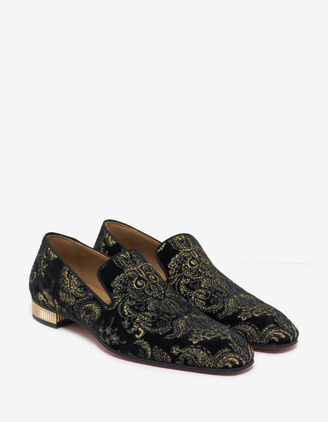 cdd173f3ae8d ... greece christian louboutin colonnaki flat black velvet embroidered  loafers zoofashions ae0cf 1a0d9