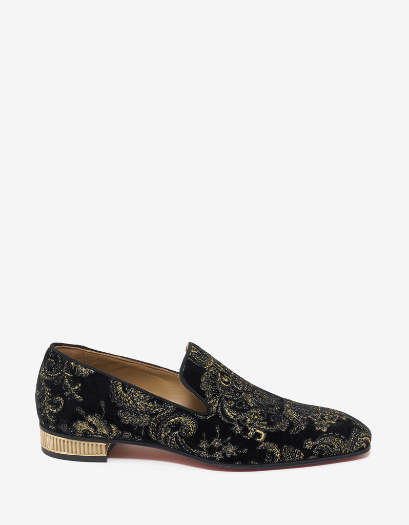 Colonnaki Flat Black Velvet Embroidered Loafers