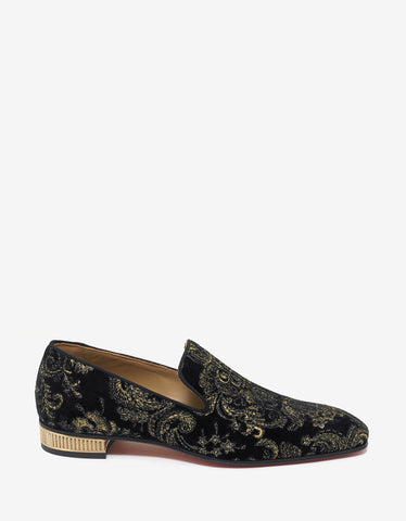 Christian Louboutin Colonnaki Flat Black Velvet Embroidered Loafers