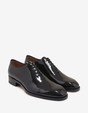 Christian Louboutin Corteo Flat Black Patent Leather Oxford Shoes