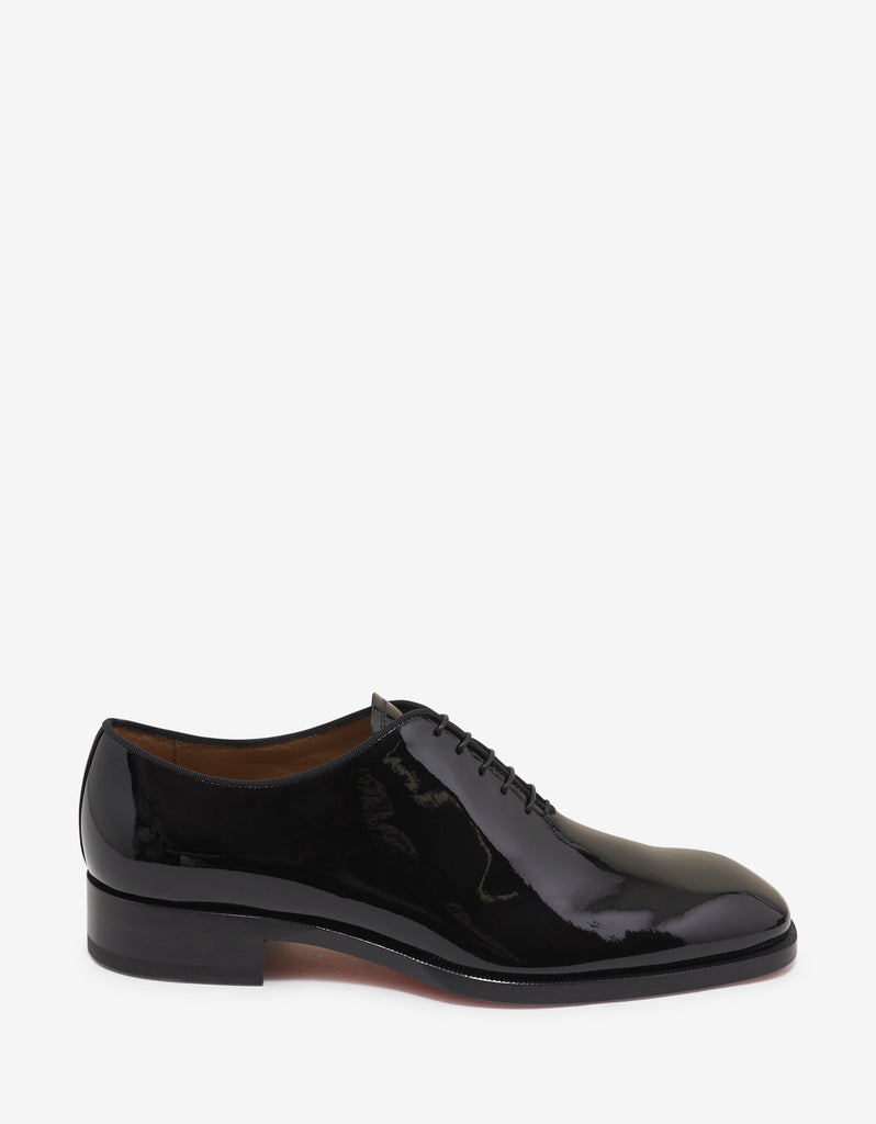 Corteo Flat Black Patent Leather Oxford Shoes -
