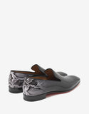 Dandelion Flat Patent Leather Loafers with Snake Print