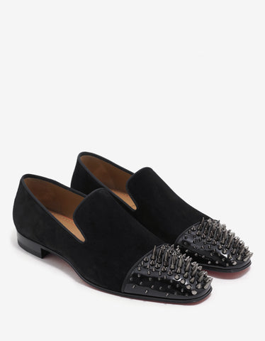 Christian Louboutin Dynodent Flat Suede Leather Spikes Loafers