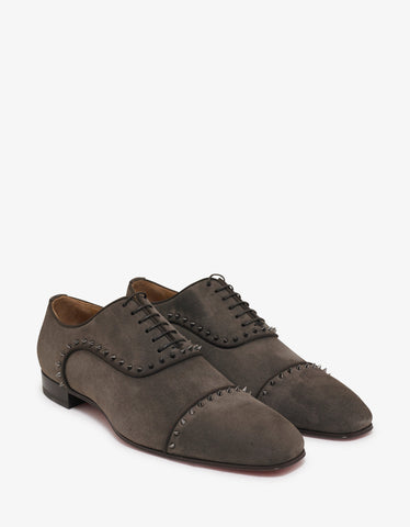 Brown Leather Derby Shoes with Logo
